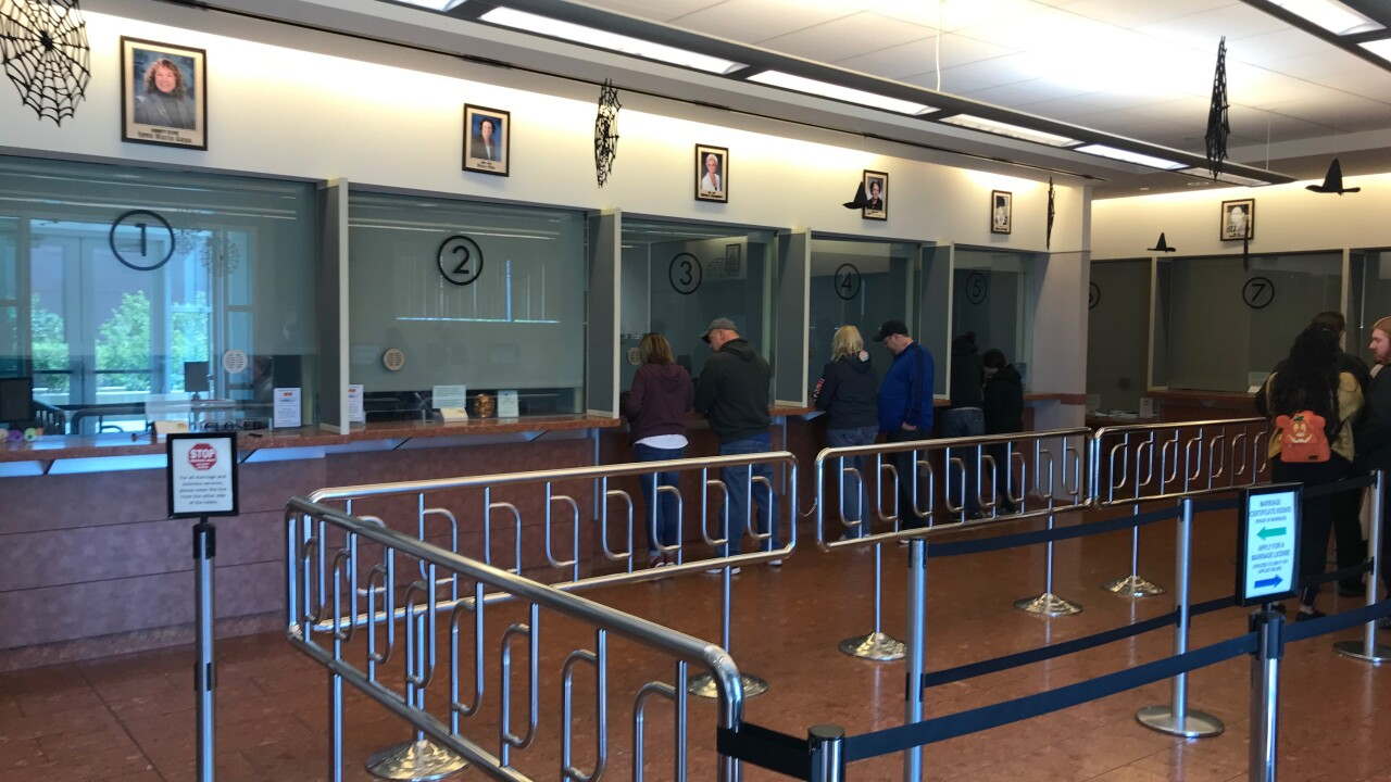 Photos of the Marriage License Bureau located at the Regional Justice Center in Clark County