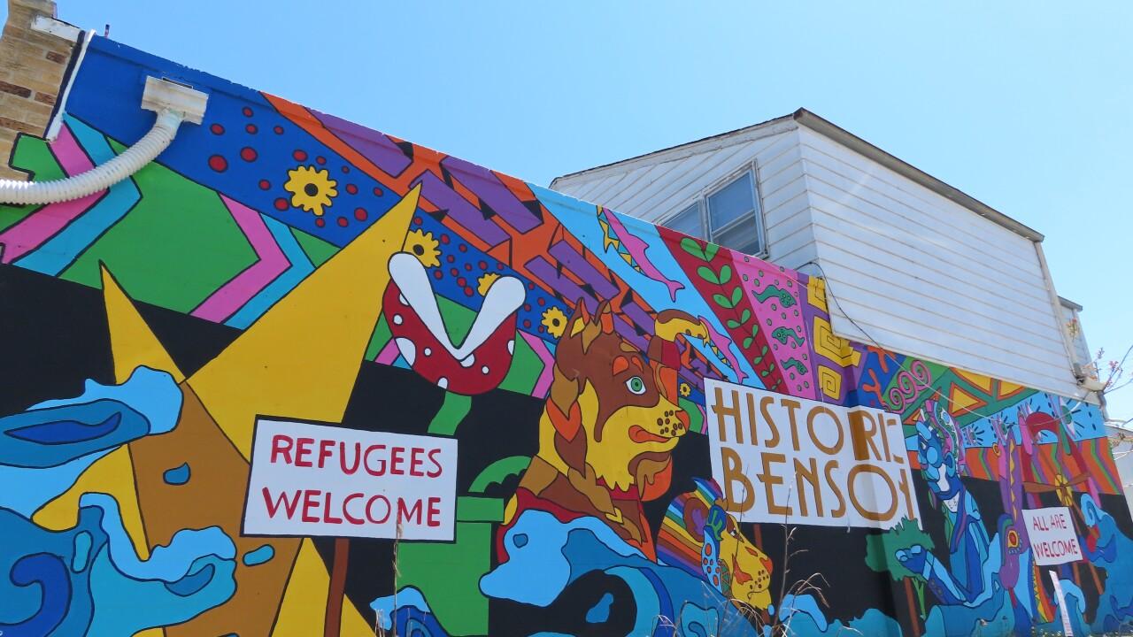 Historic Benson mural welcomes visitors to the neighborhood.JPG