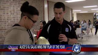 RJ Salas receives the Friday Night Fever Play of the Year award
