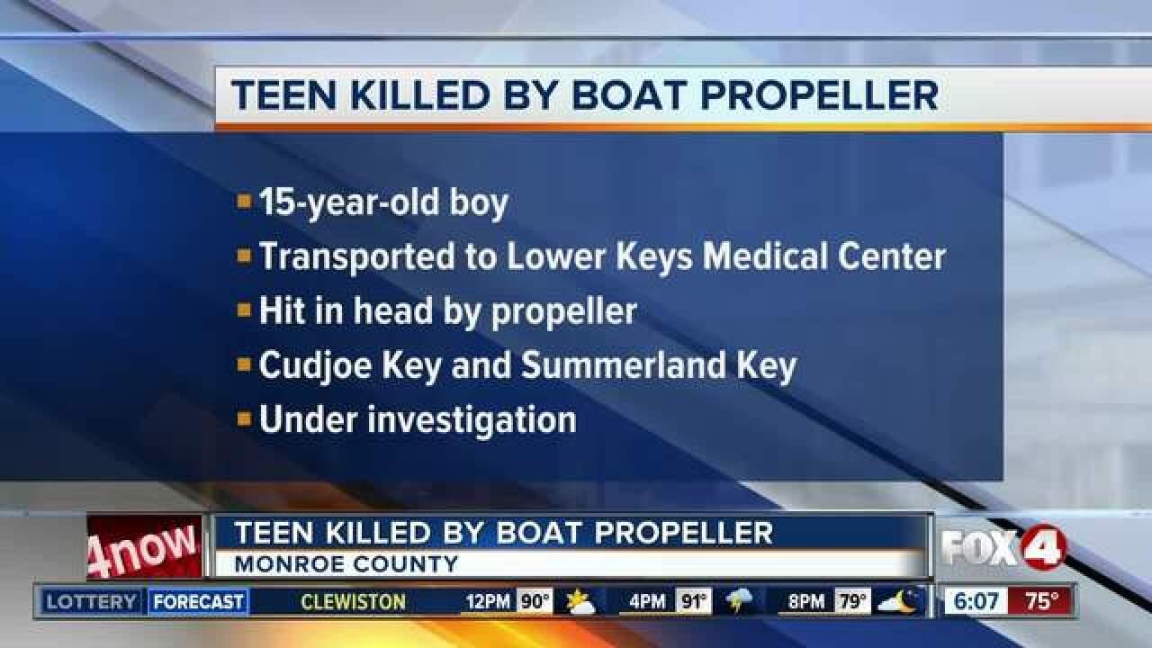 Teen killed by boat propeller in Florida Keys