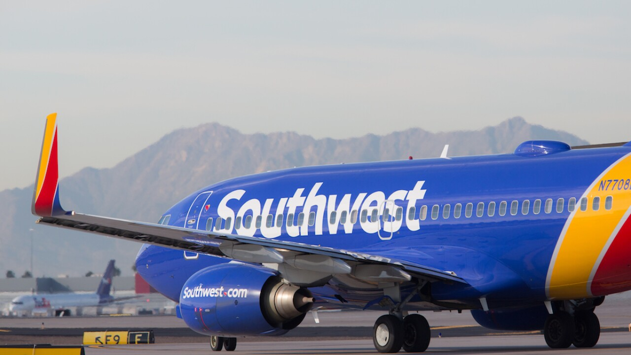 A Southwest Airlines Boeing 737 on a taxiway