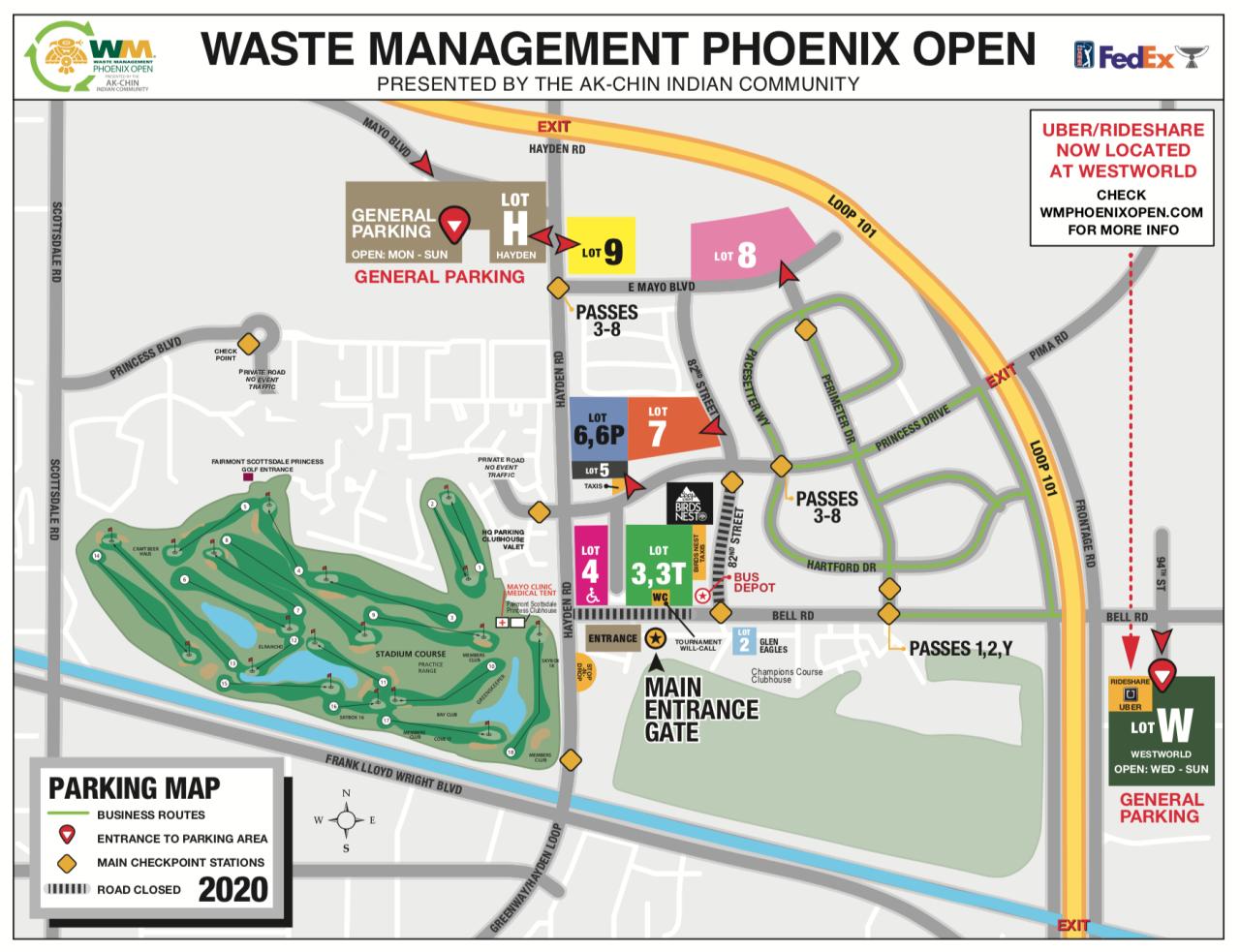 2020 WM Phoenix Open Parking Map