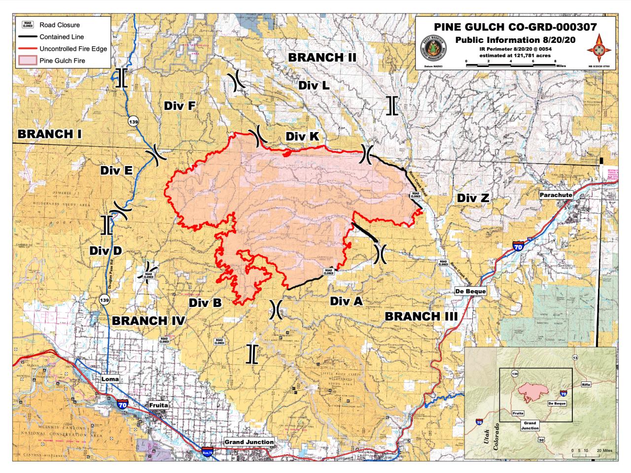 Pine Gulch Fire map_Aug 20 2020