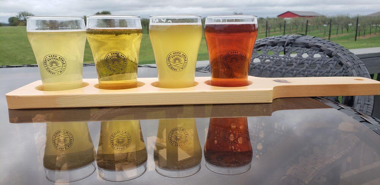 A flight of cider at Winterset Cidery