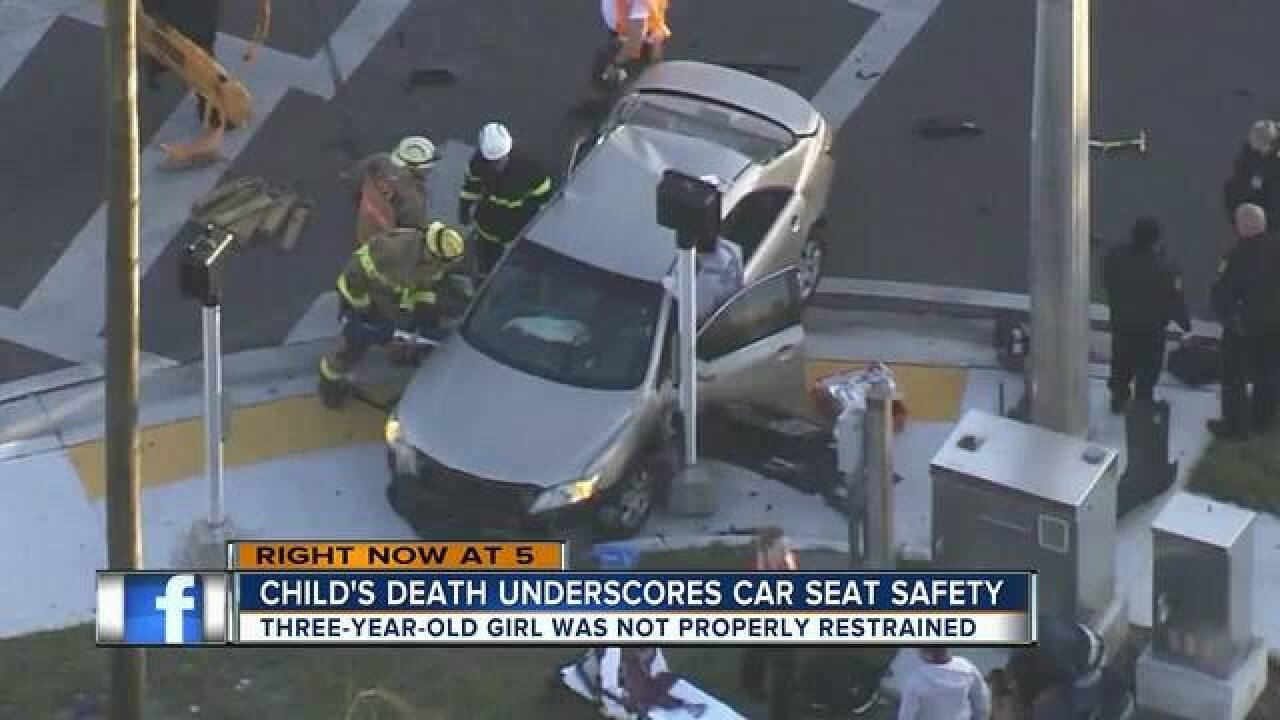 3-year-old girl not properly restrained in crash