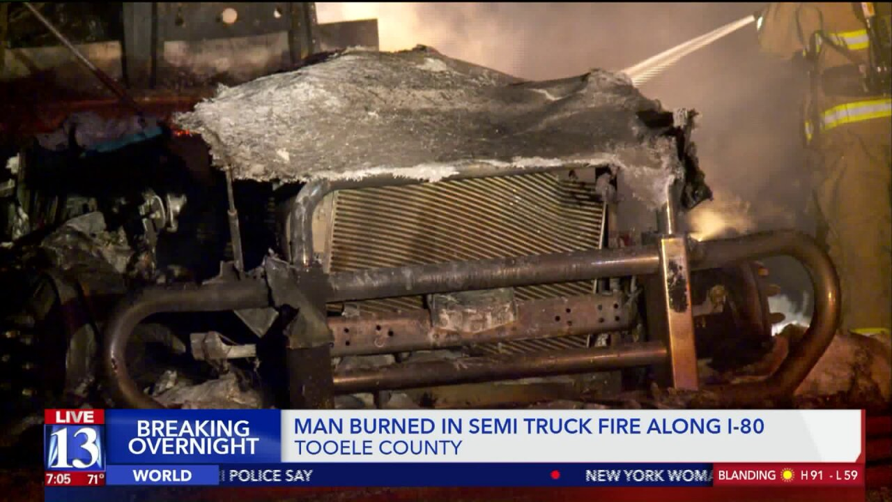 Man flown to hospital after semi catches fire while parked along I-80 in TooeleCounty