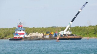 St. Lucie County's Erosion District said May 12, 2020 construction has begun on a limestone boulder reef inside the Fort Pierce Inlet just off Raccoon Island.