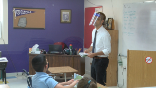 Students learning Latin at St. Andrew School