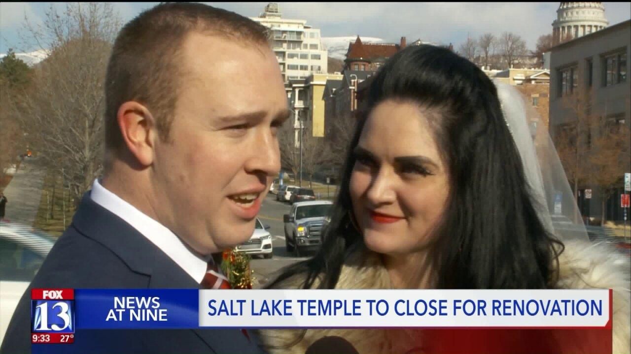 Brides, grooms fill Temple Square before Salt Lake Templerenovation