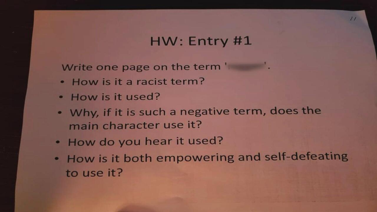 Nashville teacher placed on leave for homework about the n-word