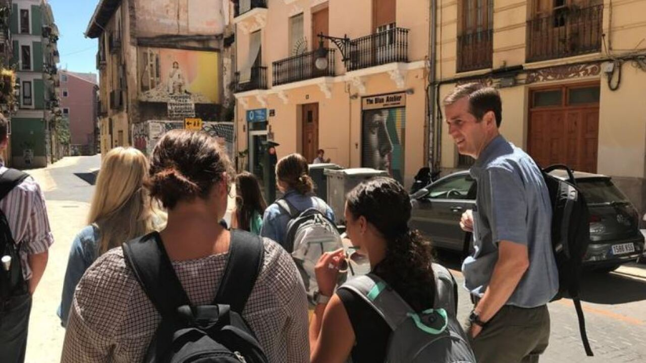 UK Deputy General Counsel Cliff Iler (right) walks with students in the Education Abroad program on a trip to Spain. Photo courtesy of University of Kentucky News / International Center.