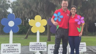 Hundreds of people gathered Saturday morning at Dreher Park in West Palm Beach for the Walk to End Alzheimer's.