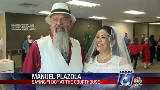 The Plazolas wed Valentine's Day at the Nueces County Courthouse.