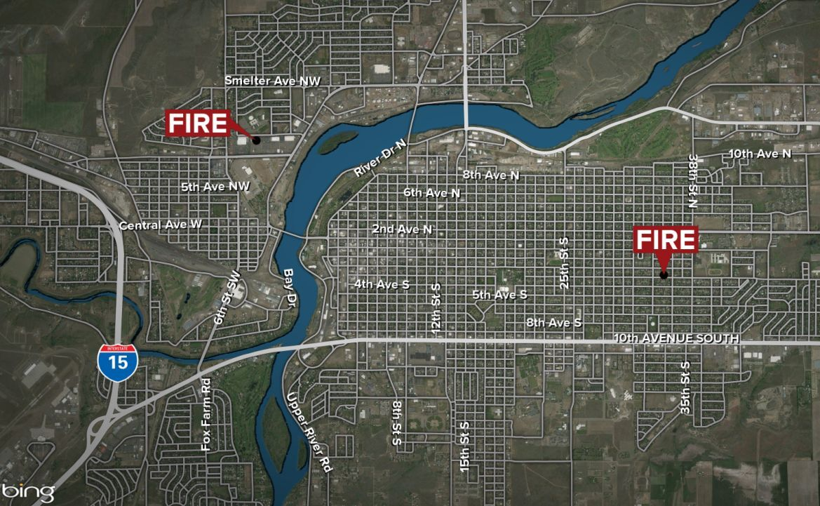 Firefighters responded to two fires in Great Falls on Tuesday