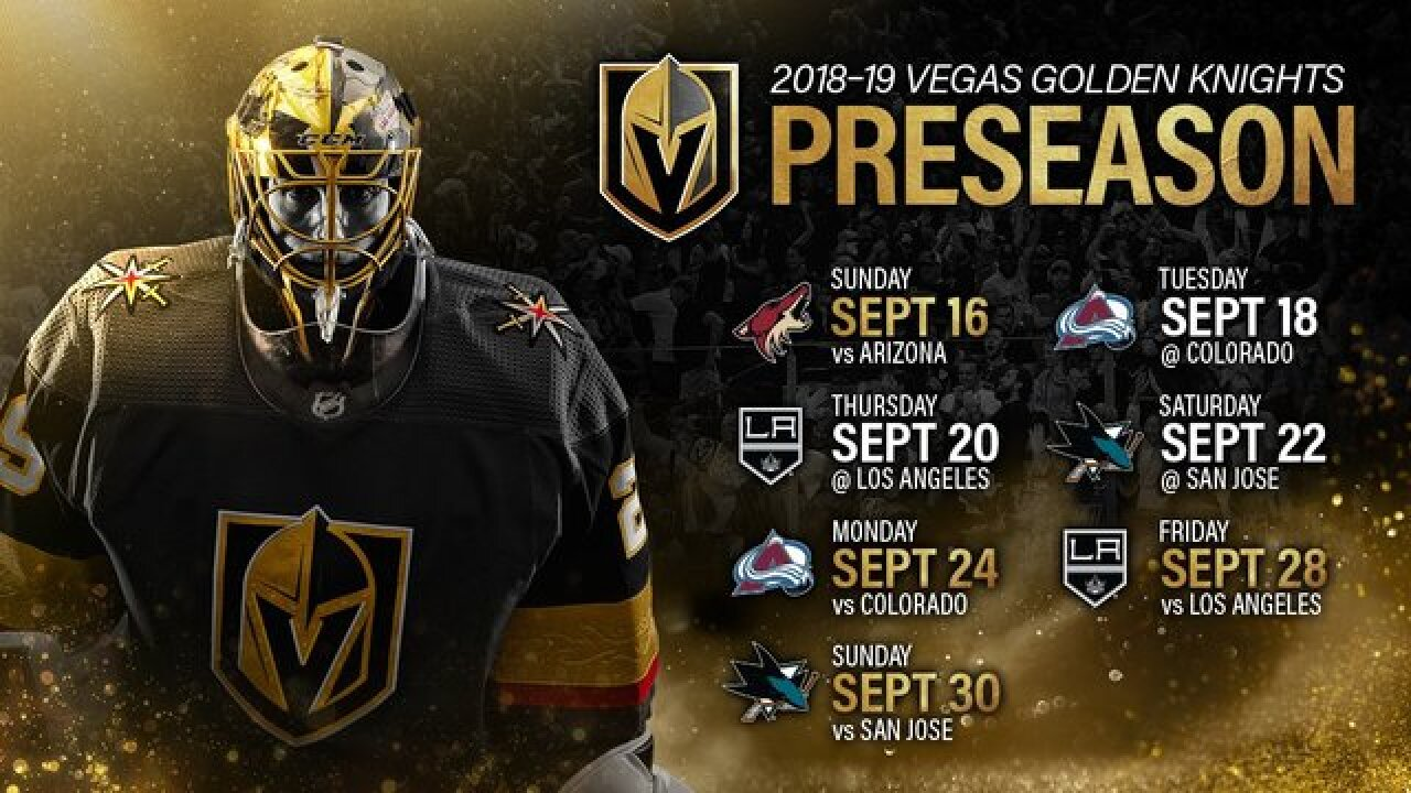 1ba91ba01a5 Vegas Golden Knights release 2018-19 preseason schedule