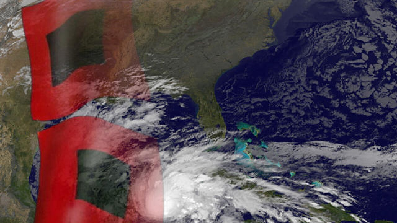 Hurricane generic satellite map with flags