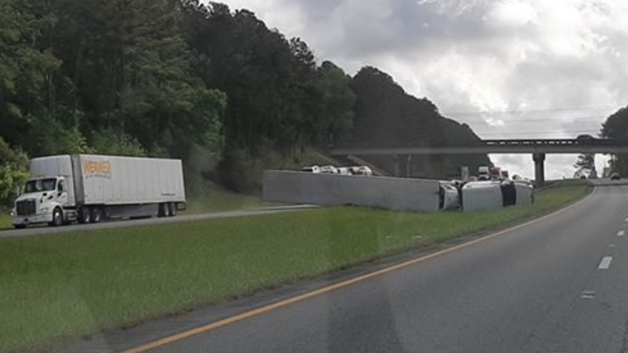 Semi-truck overturns on I-10 WB in Tallahassee.PNG