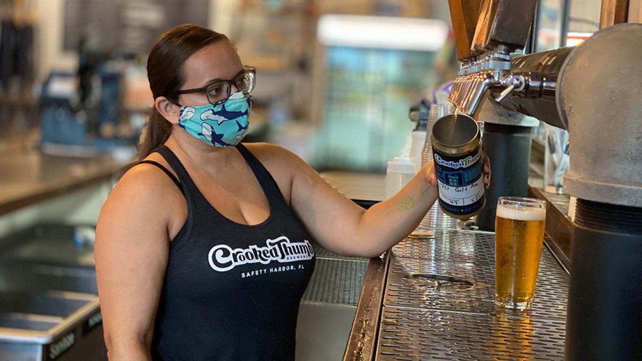 Mandy Boldman, bartender at Crooked Thumb Brewery.