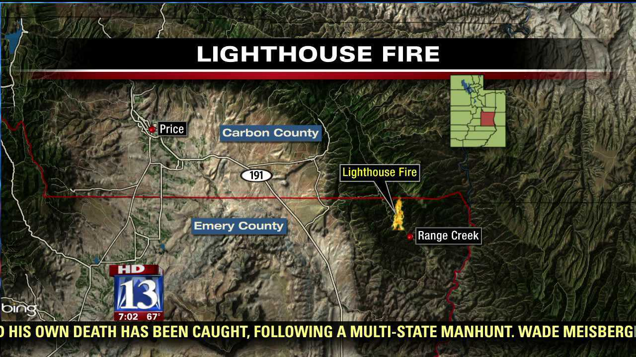 Lighthouse Fire in central Utah 20 percent contained