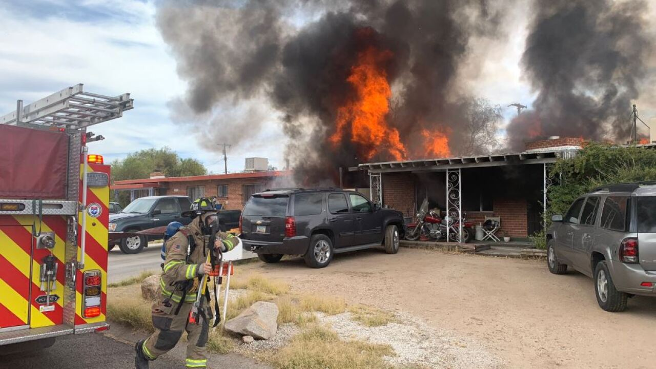 Northwest Fire crews put out a house fire near Flowing Wells and Wetmore Roads Friday. Photo via Northwest Fire.