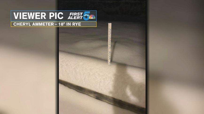 Heavy snow reported in Rye, Colorado