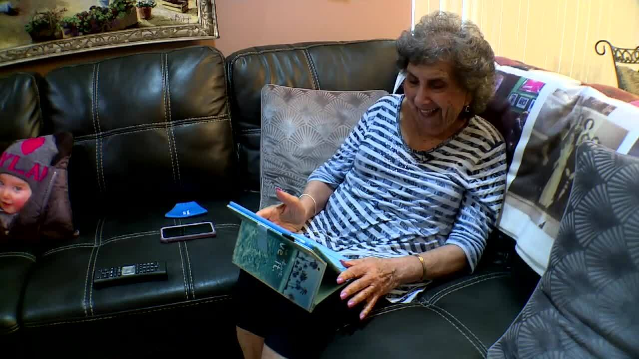 Joyce Fish smiles as she speaks with great-grandaughter on FaceTime