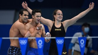 Watch the first mixed-gender swimming race in Olympics history