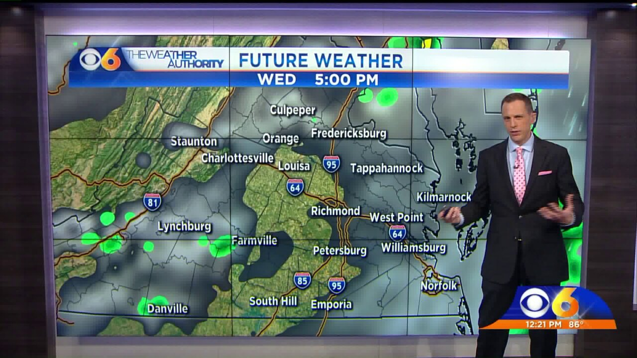 Wednesday afternoon storms will produce heavy rainfall,lightning