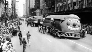 Giant train balloon in Christmas parade.