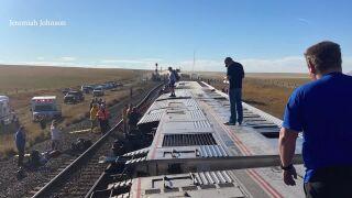 Amtrak train derailment along Hi-Line