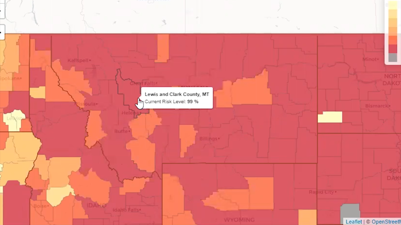 Georgia Tech tool showing risk of COVID exposure in Lewis and Clark County for crowd larger than 100 people