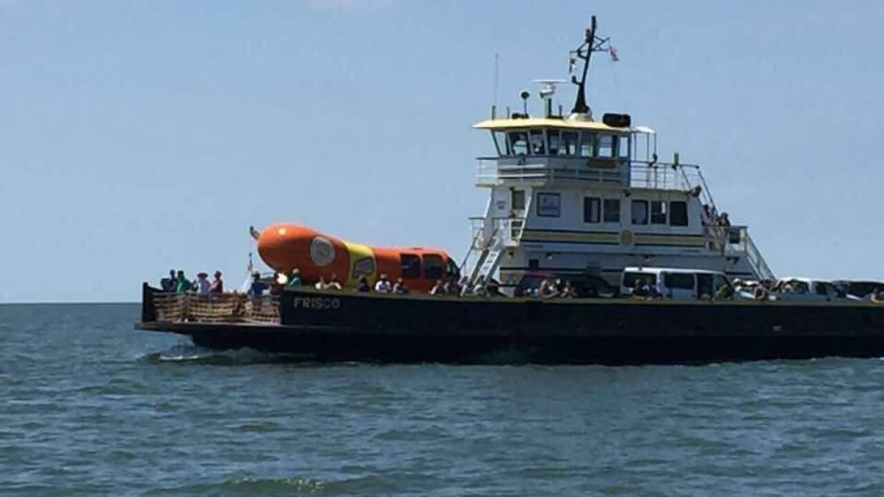 Famous Wienermobile caught riding the Hatteras Ferry, drivers wanted