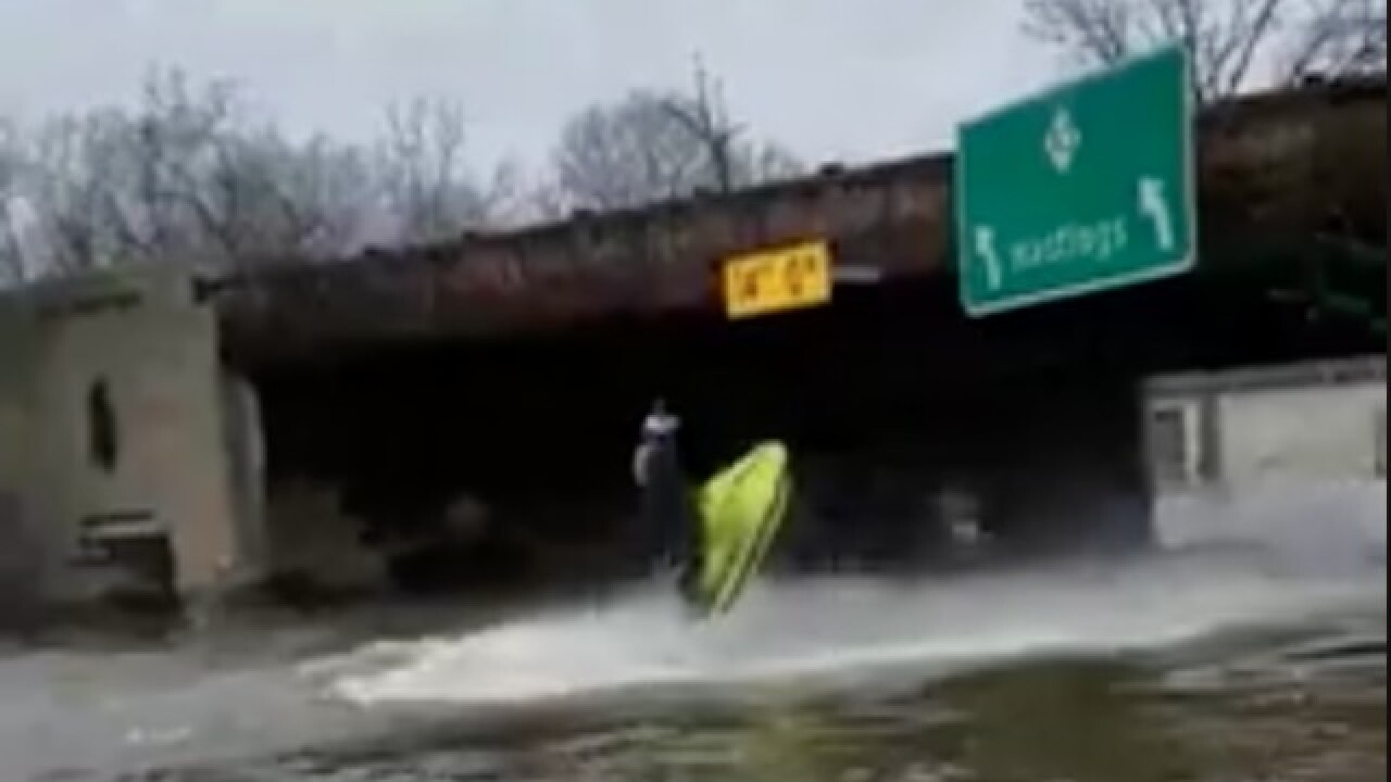 VIDEO: People jet skiing on flooded Michigan streets