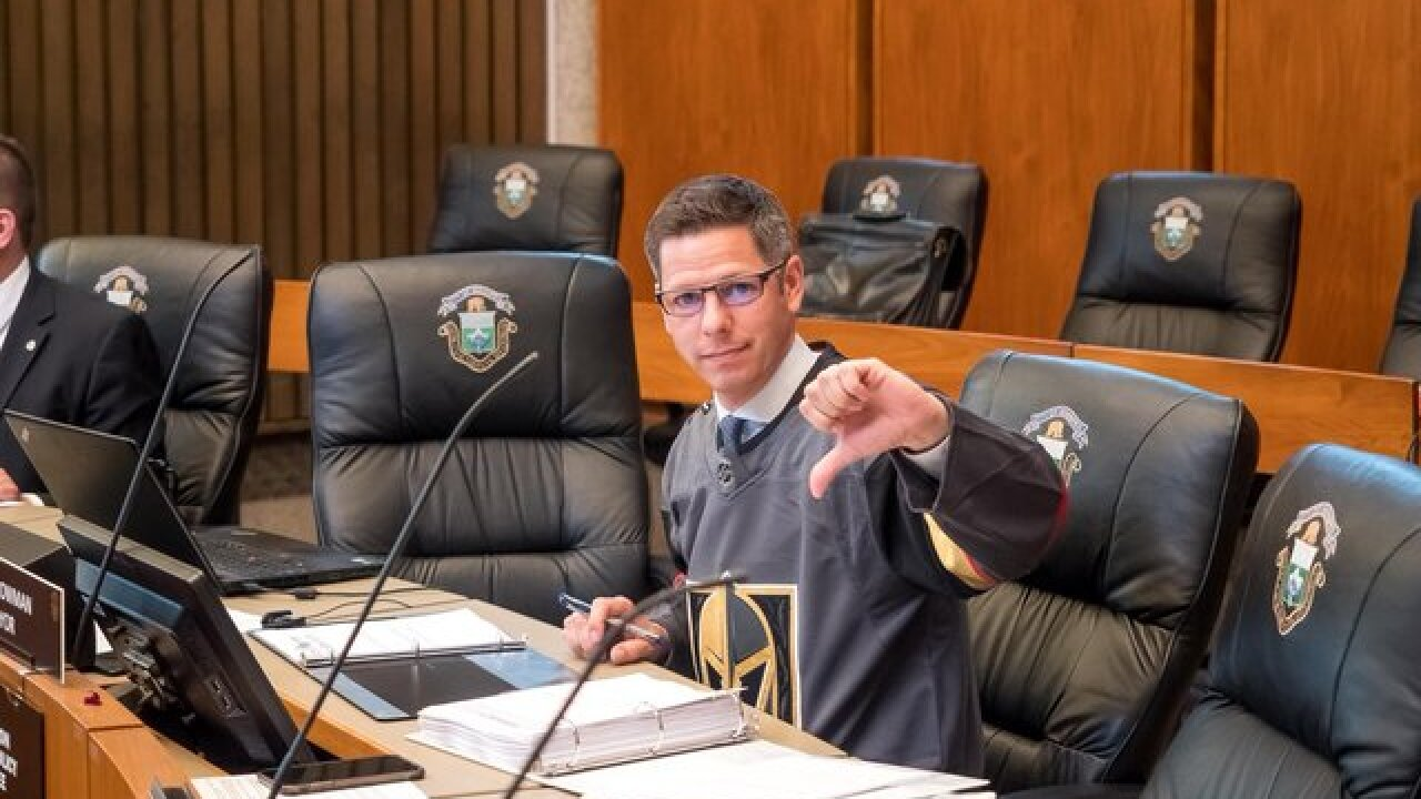 Winnipeg Mayor wears Golden Knights Jersey
