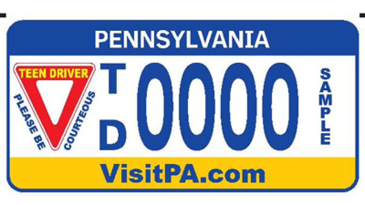 PA unveils 'teen driver' license plates