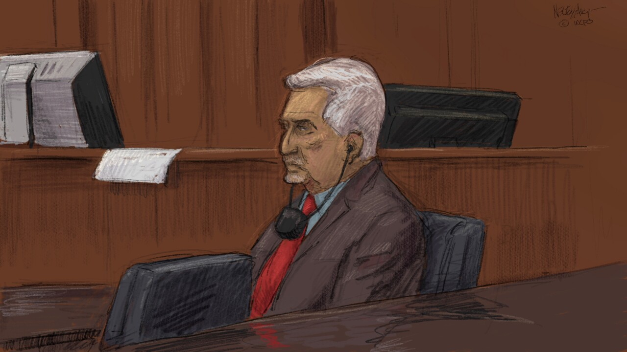 Artist Kevin Necessary's rendering of Dr. Saad Sakkal in court.