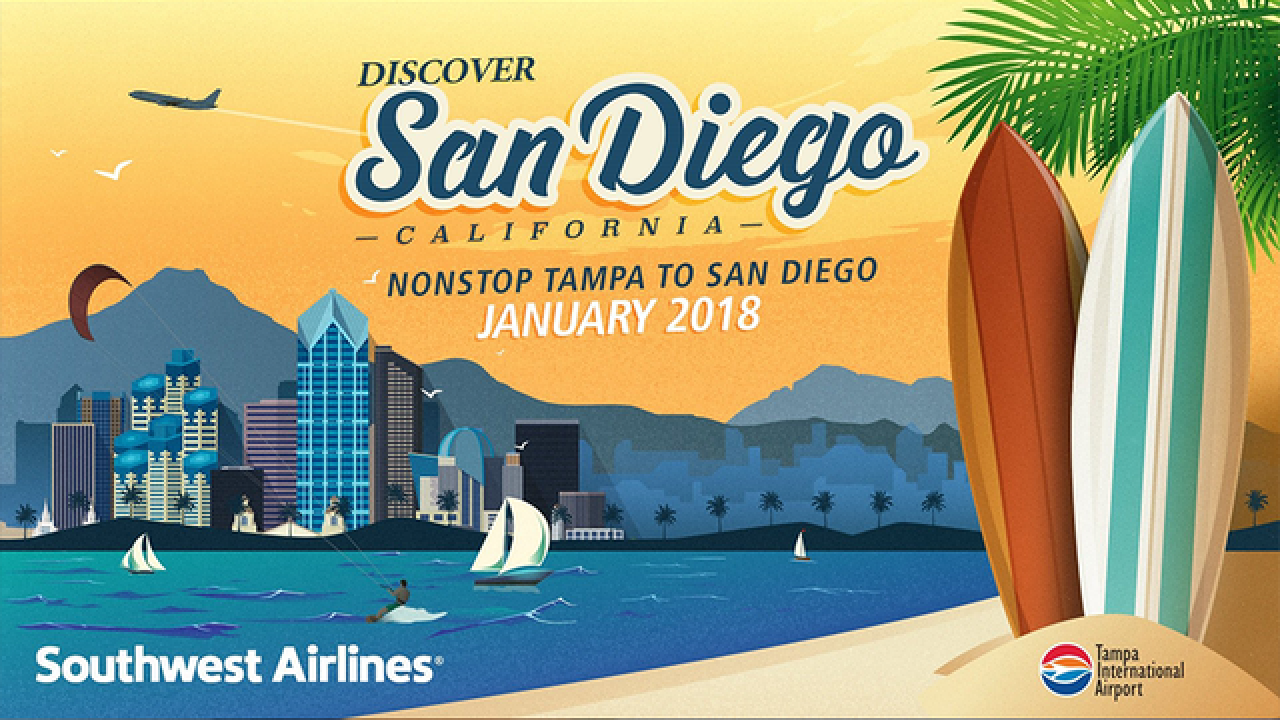 Southwest adds new nonstop flights from Tampa to San Diego