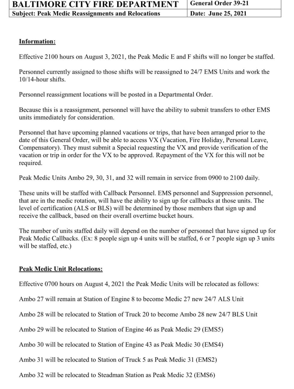 Baltimore Fire Department Document