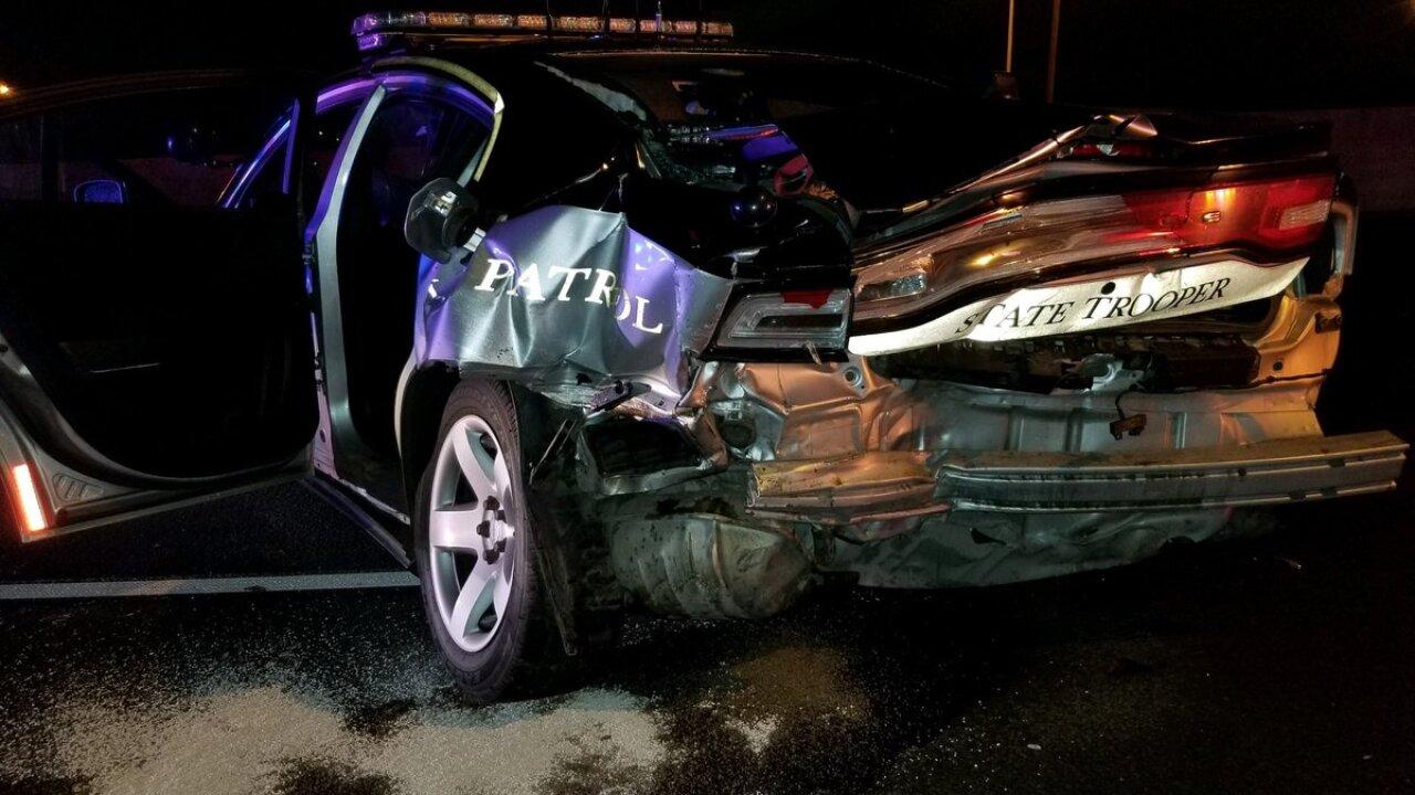 CSP Trooper's car hit