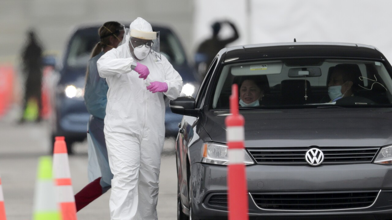 Drive-thru coronavirus testing at Hard Rock Stadium, April 26, 2020