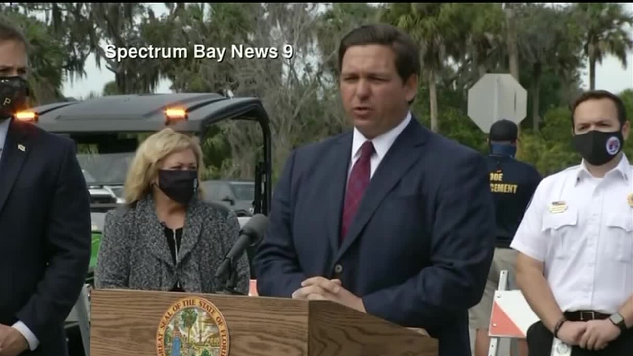 Gov. Ron DeSantis in Bradenton, Jan. 7, 2021