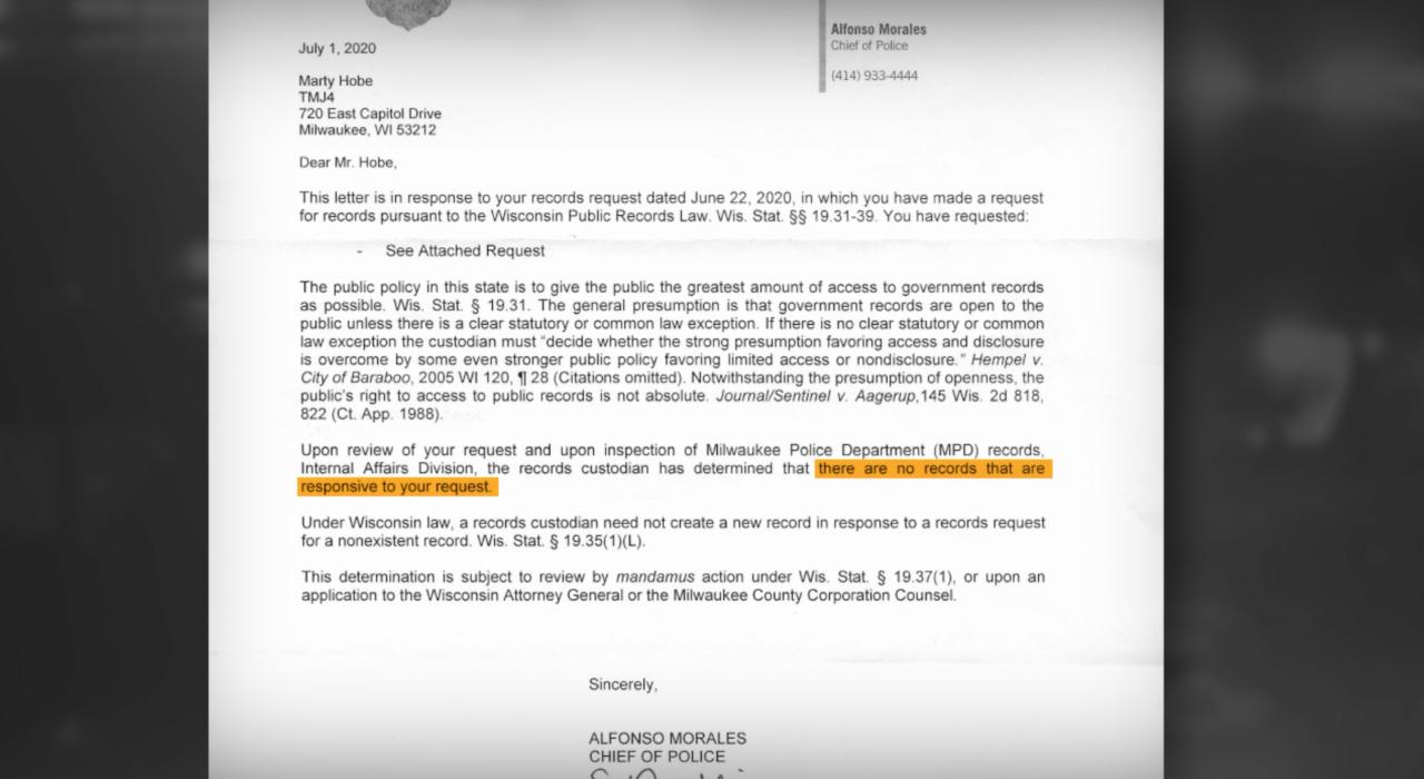 MPD Duty to Intervene records request
