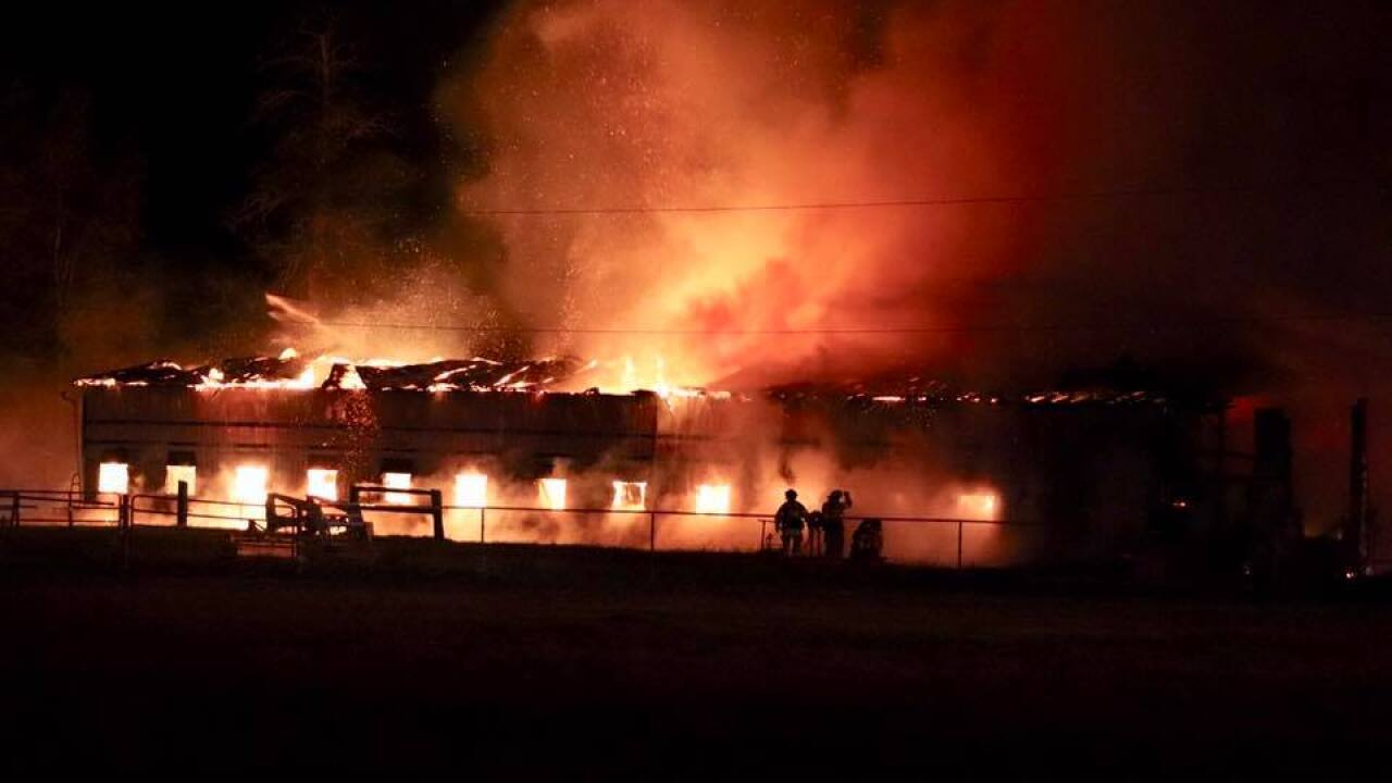 Crews battling massive barn fire in Village of Depew
