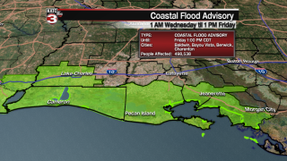 Coastal Flood Advisory issued along South Louisiana