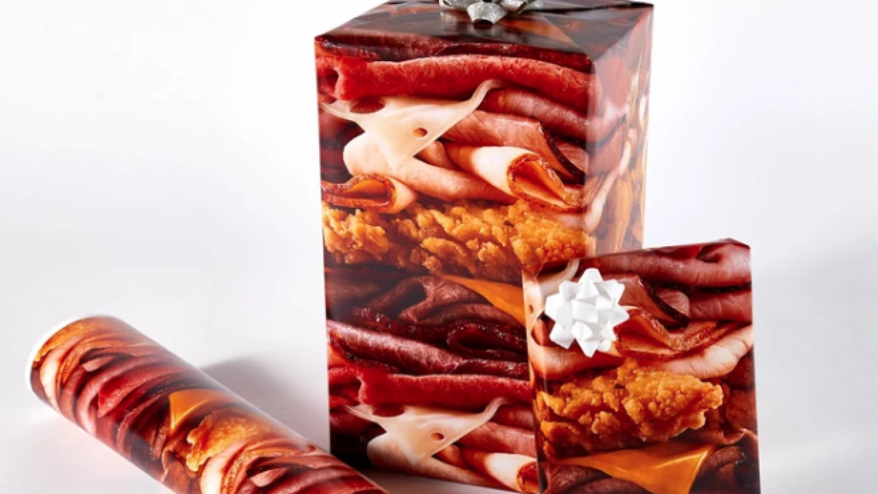 Arby's offers holiday swag, including 'all the meats' wrapping paper
