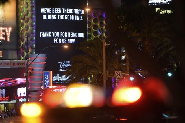 PHOTOS: The Strip shares #VegasStrong marquees