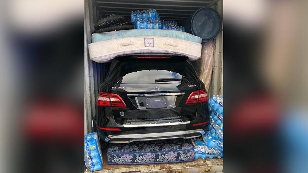 Customs and Border Protection officers at the Port of Baltimore often see stolen vehicles packed or concealed inside shipping containers, like this Mercedes Benz ML350, destined to West Africa.