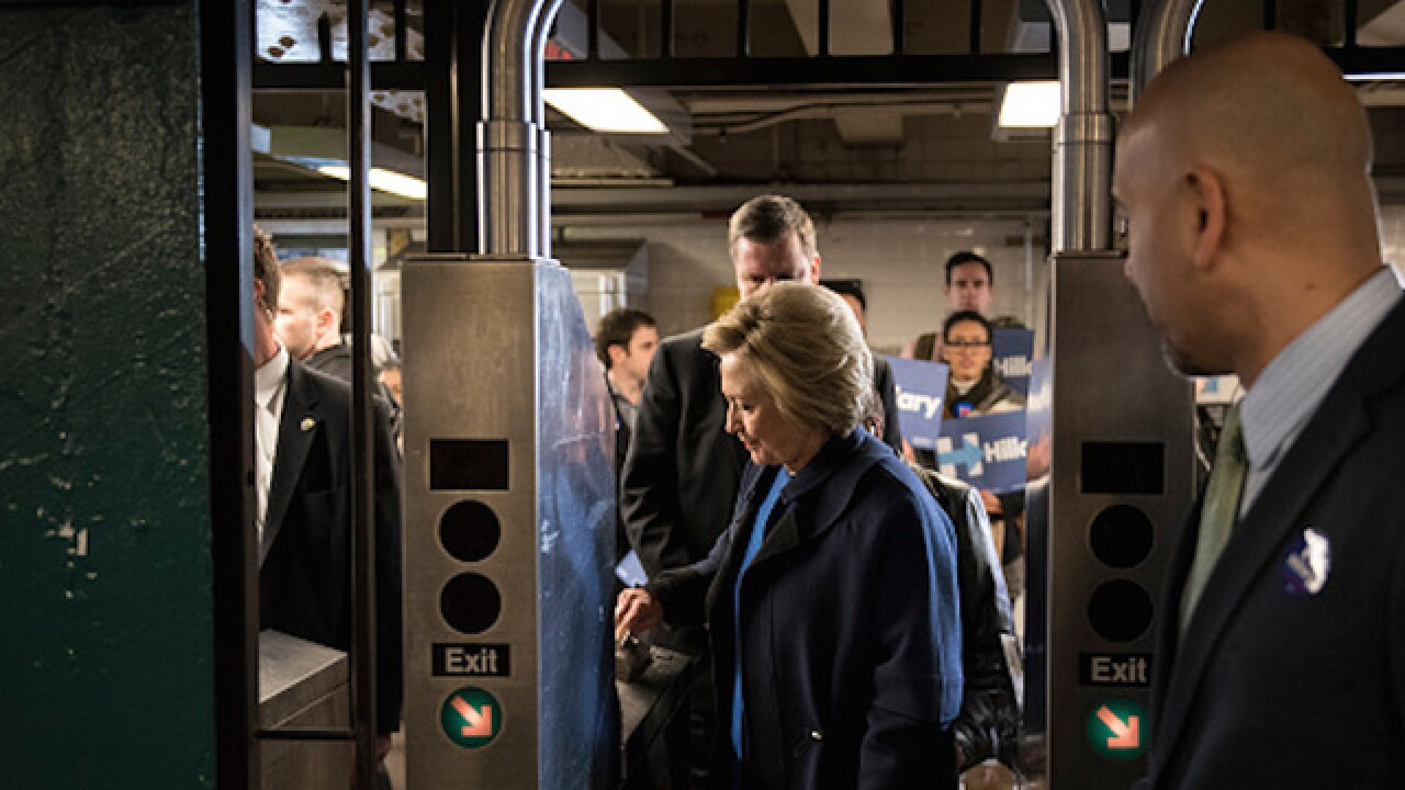 Clinton runs into problems getting on NYC subway