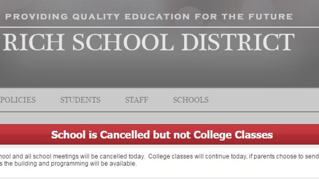 Rich School District cancels class due to weather