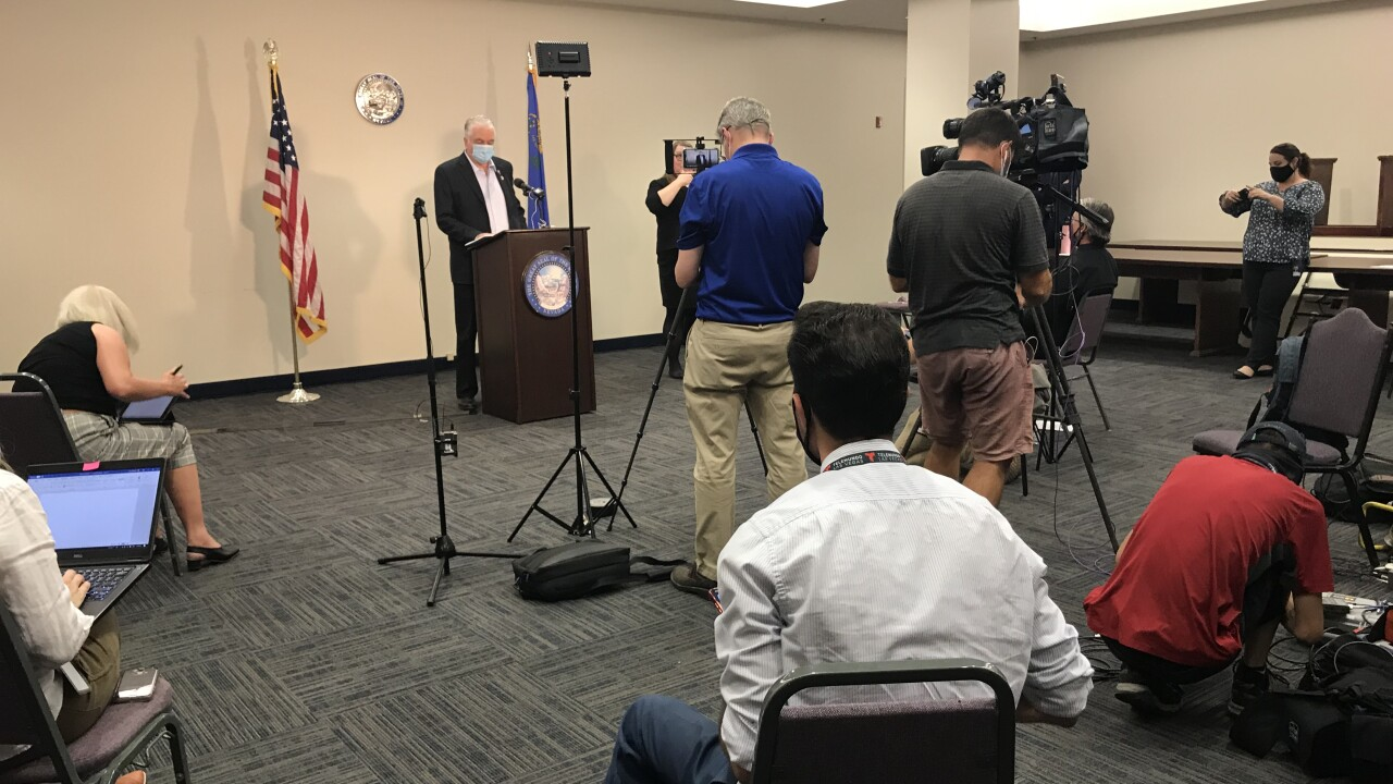 Nevada Gov. Steve Sisolak holds a news conference on Thursday, Sept. 3, 2020 in preparation of the long Labor Day weekend holiday